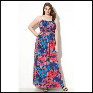 Jessica Simpson 1X Maxi Dress Strapless Floral NWT